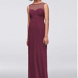 David's Bridal- Long Mesh Dress with Illusion Neck